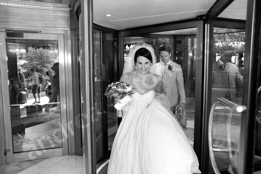 Man and woman getting married exiting their hotel headed for the symbolic wedding in Rome