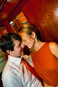 Couple romantic in an elevator