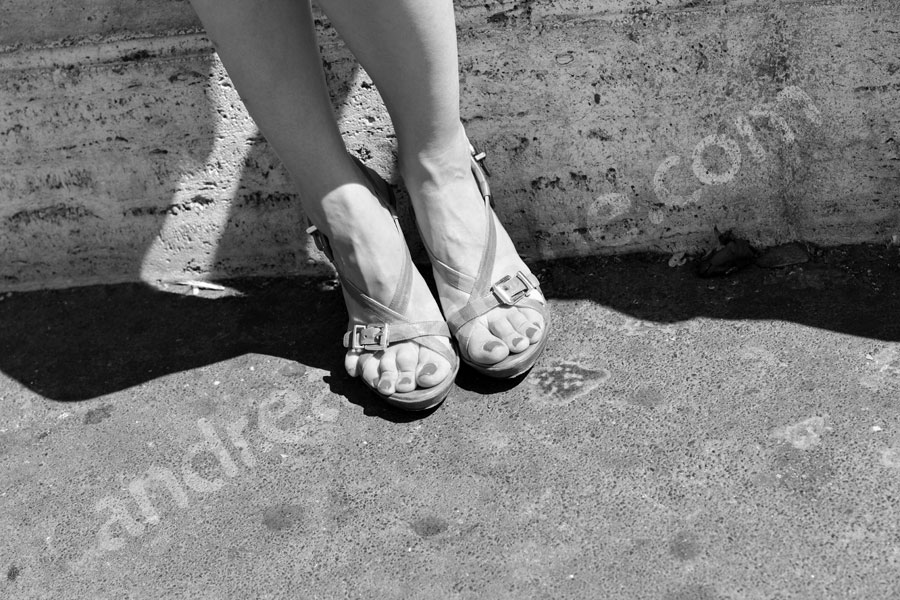 Woman's shoes photographed in black and white. Sandals.