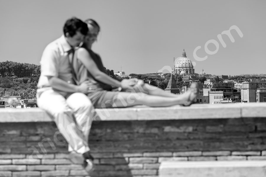 Black and white photography taken at Giardino degli Aranci in the summer of Italy