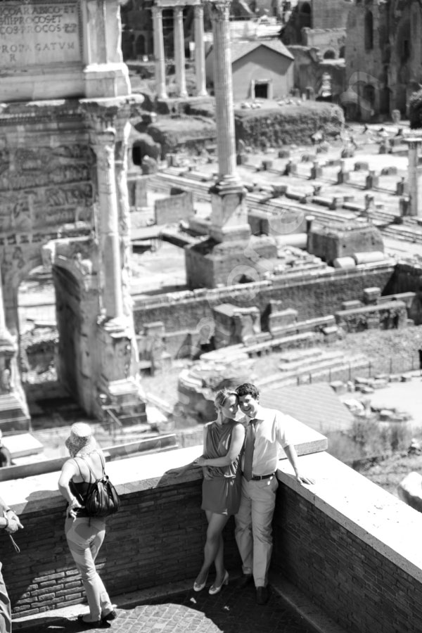 Roman forum picture from above. Mingling among the tourists.