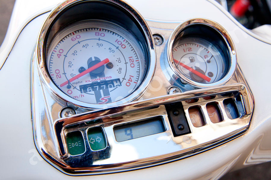 The speedometer of a vespa scooter