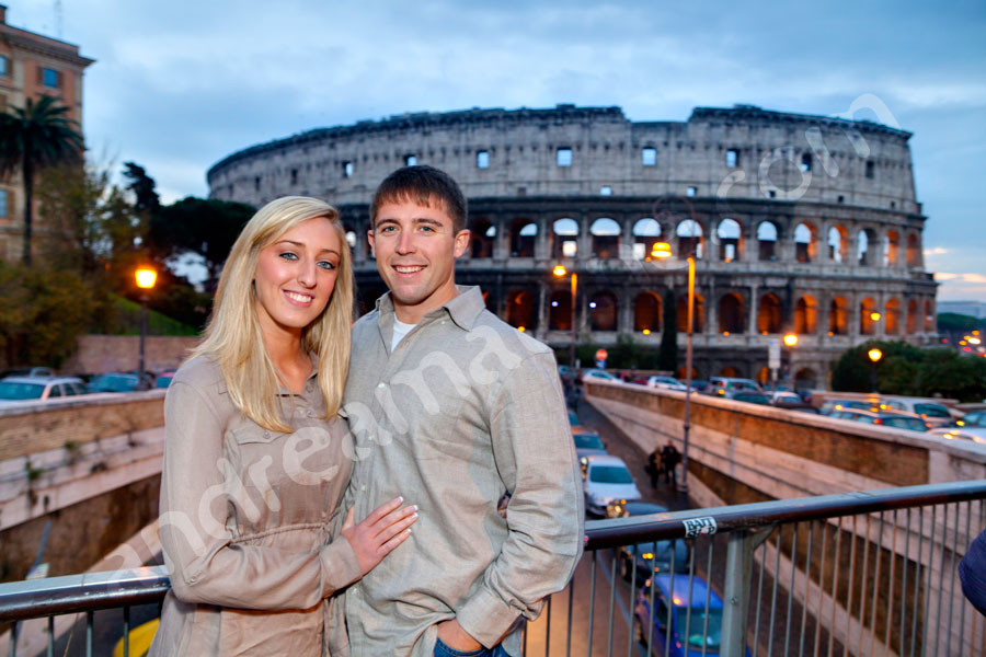 Together in Italy by the Colosseum during the blue hour. Sunset.