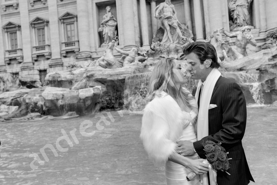 In love at the Fontana di Trevi in Rome Italy
