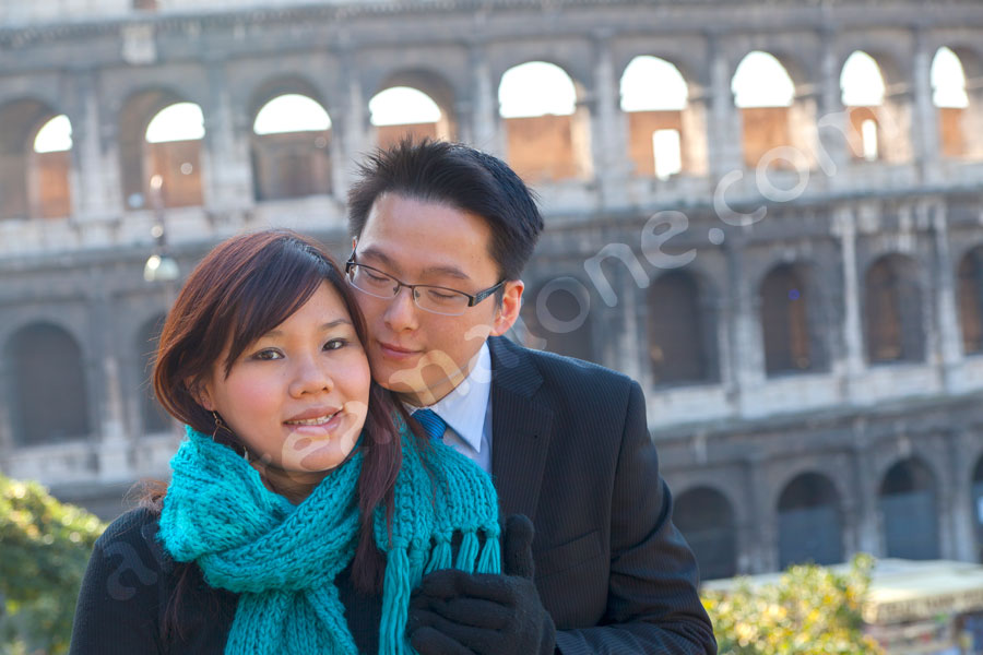 Engagement picture before ancient landmarks