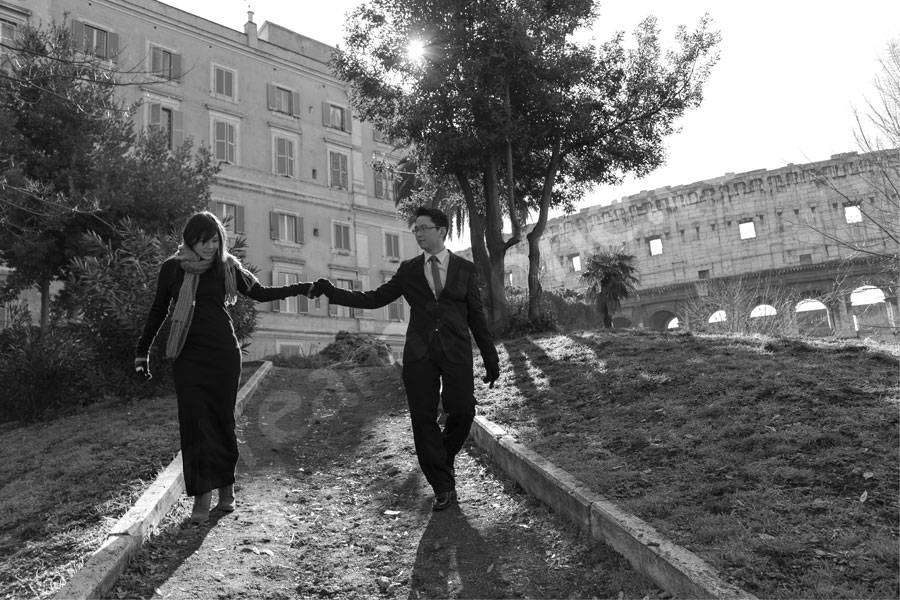 Walking hand in hand in black and white pictures