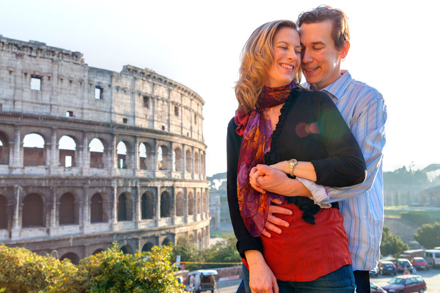 Beautiful end of shoot at the colossal landmark Colosseum