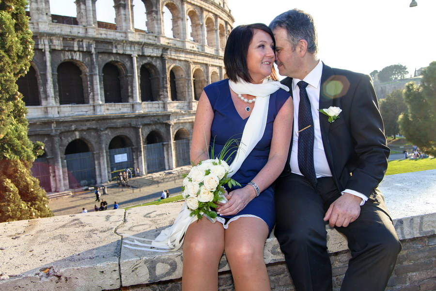 Wedding couple together at the Coliseum