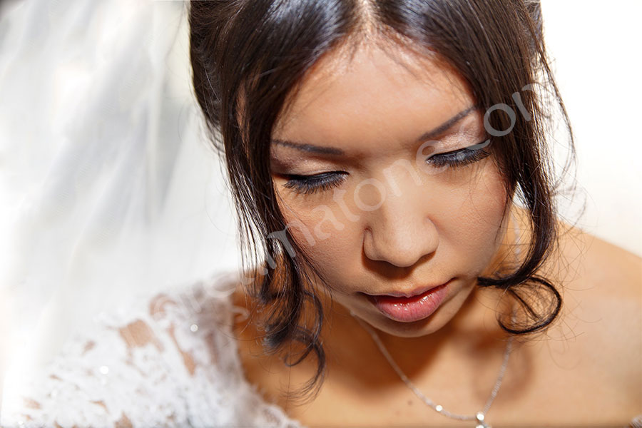 Bride visage photographed during the final preparation
