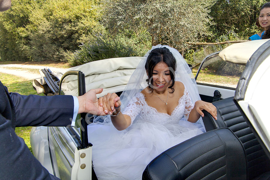 Helping the bride exiting the car