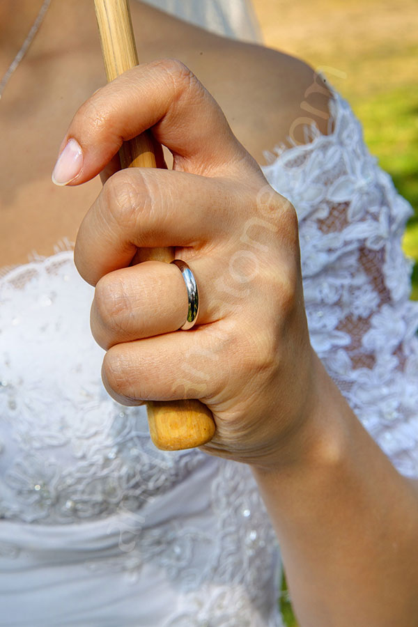 Bride wearing the ring on her finger