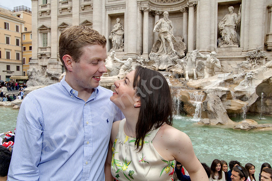 Looking at one another at the Trevi fountain from above.