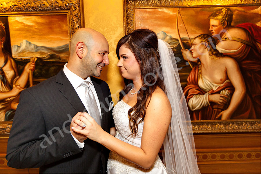 Just married inside Hotel Parco dei Principi next to beautiful paintings