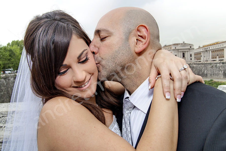 Newlyweds in love kissing