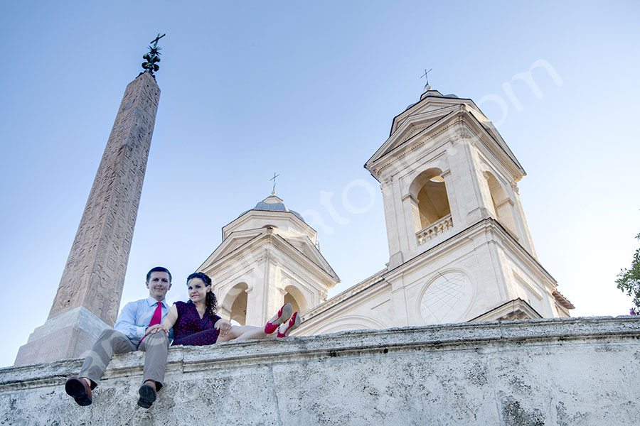 Engagement portrait on top of Church Trinita' dei Monti