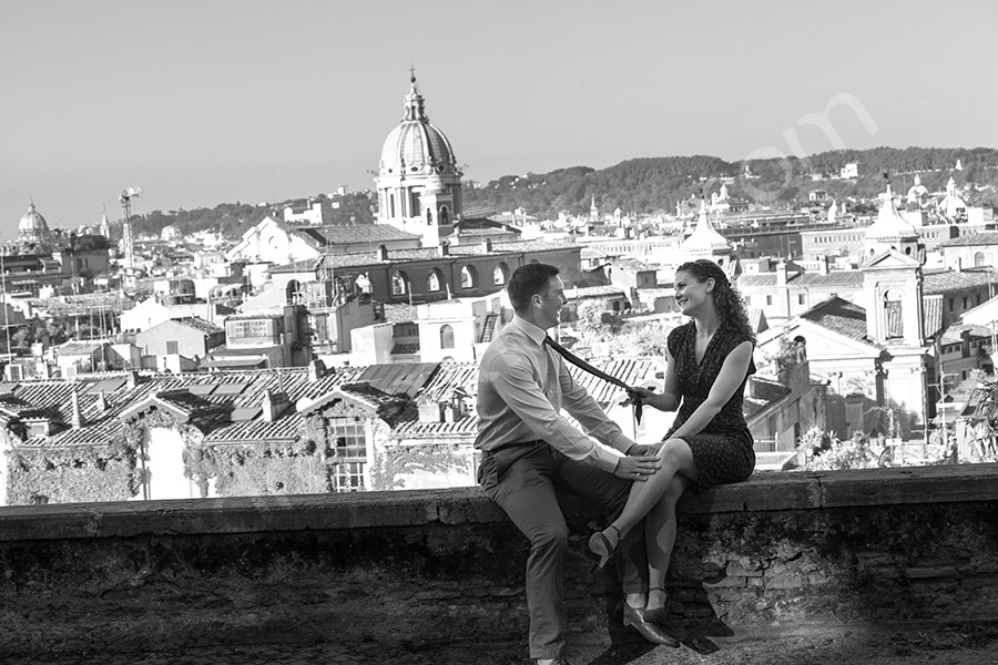 Black and white shoot with the sweeping view of Rome in the background