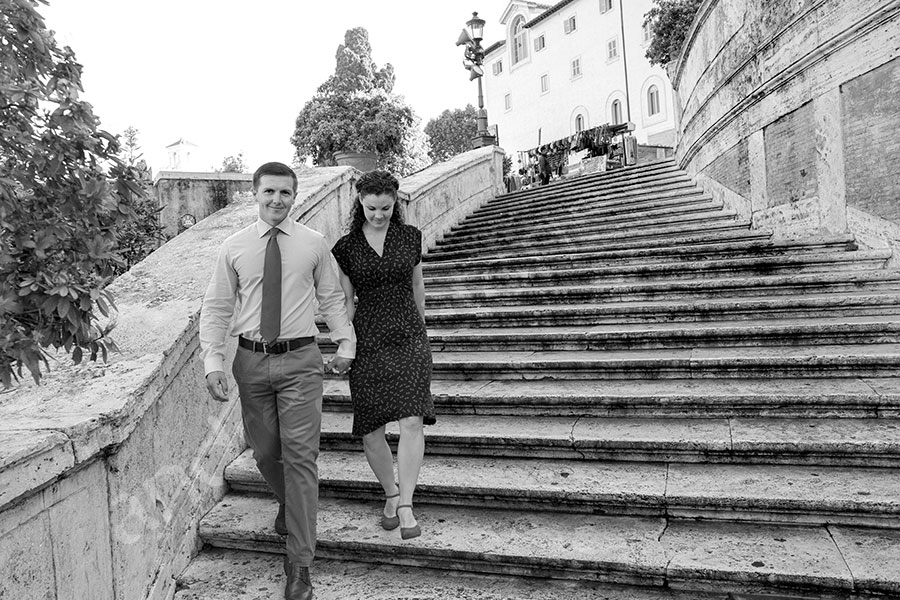 Descending the Spanish steps stairs in black and white
