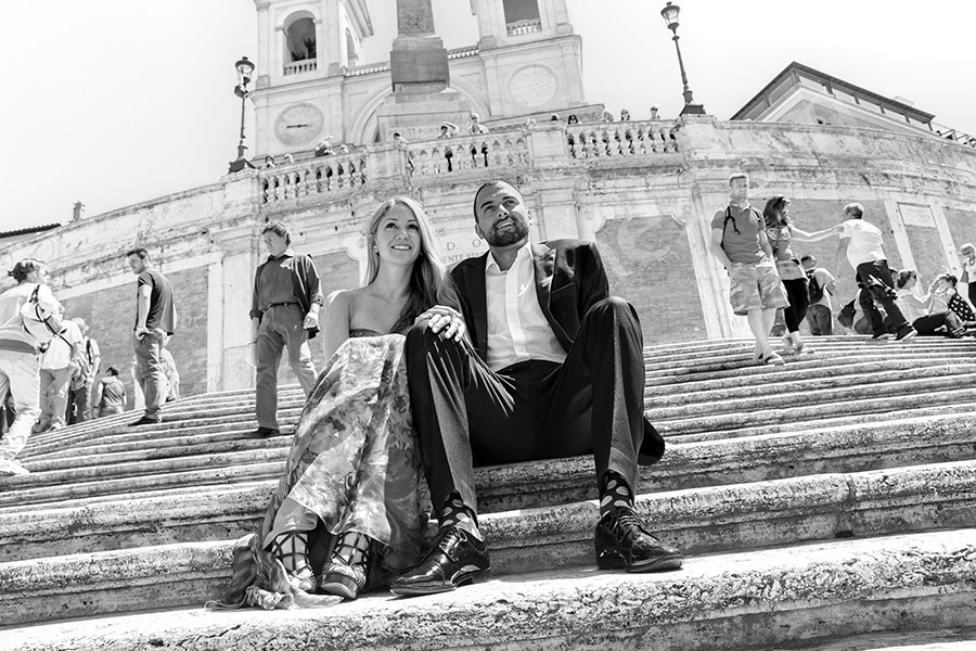 Black and white travel photography from the Spanish steps.