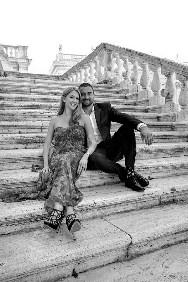 Sitting down on steps Piazza del Campidoglio Rome Italy