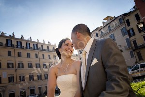 Wedding bride and groom portrait in Rome Italy