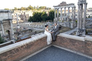 Couple photographed from above Fori Romani in Rome