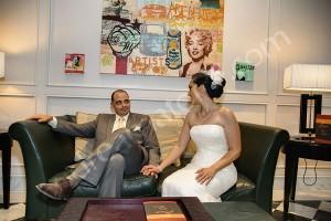 Hotel interior bride and groom photo