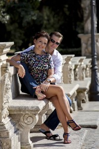 Couple posing during a photography session Museo Parco Villa Borghese Rome Italy