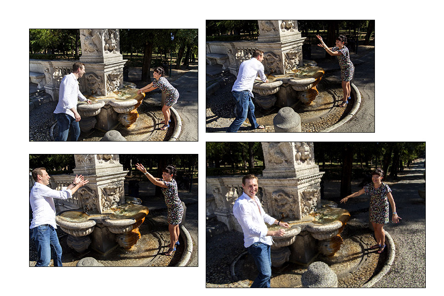 Couple splashing water collage composition