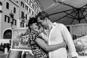 Black and white picture of a couple photo session in Rome