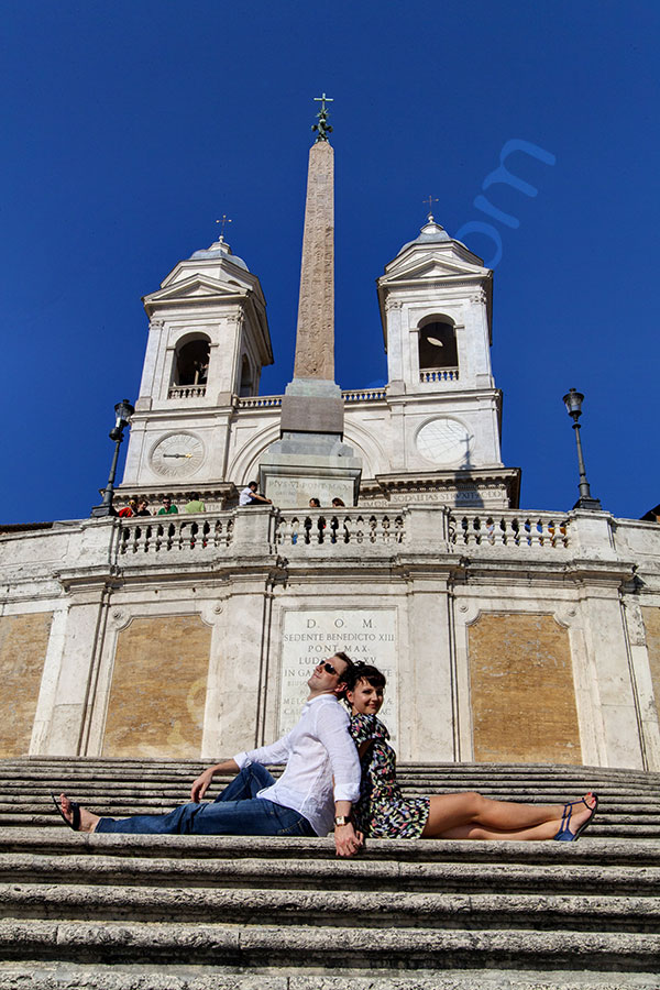 Sitting down on the Spanish steps