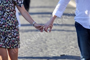 In love and holding each other's hand