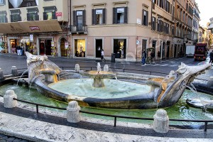 Piazza di Spagna water fountain early morning