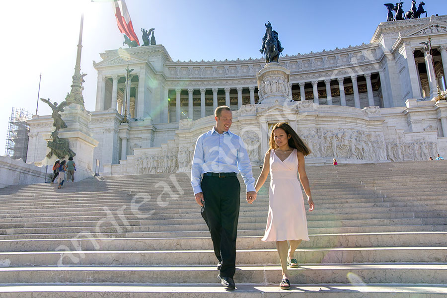 Walking down the white stairs on the Vittoriano monument