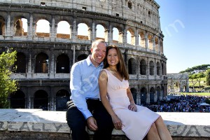 Posing in front of the Roman Colosseum
