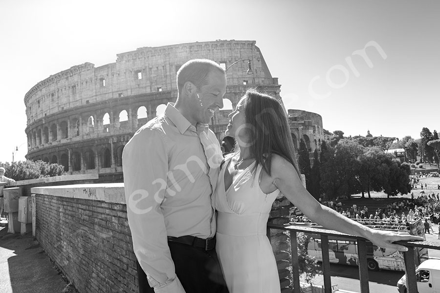 Black and white image at the Coliseum in the eternal city.