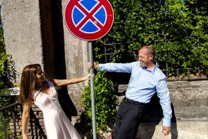 Playing around with a traffic sign in Rome