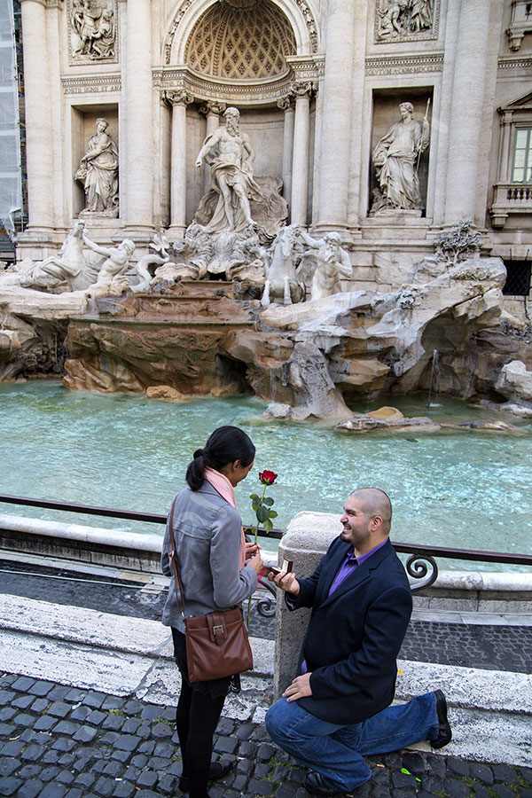 Surprise wedding proposal in Rome in Piazza Fontana di Trevi in Italy