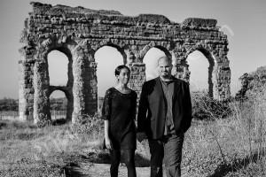 Black & white photography ancient roman aqueduct Appio Claudio Rome Italy