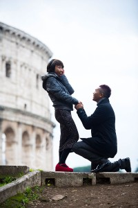 Couple having fun during a photo tour in Rome Italy