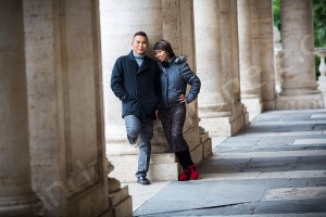 Couple standing together in Piazza del Campidoglio Rome Italy