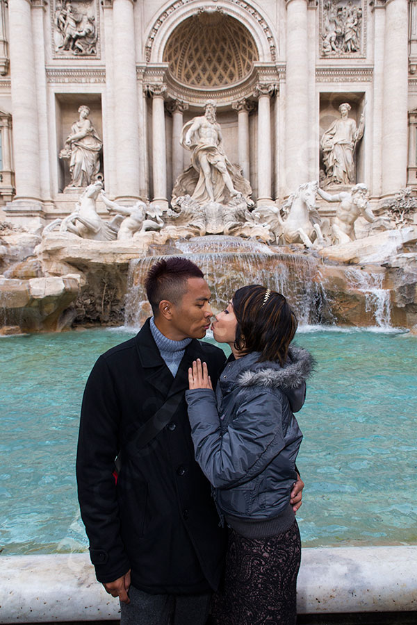 Trevi fountain picture. People posing in front of the fountain.