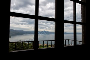 The view of Lake Bracciano from Castle Odescalchi Italy