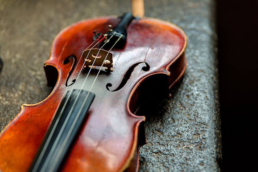 The violin awaiting