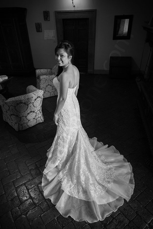 Bride wearing the dress gown inside Castle Odescalchi Italy