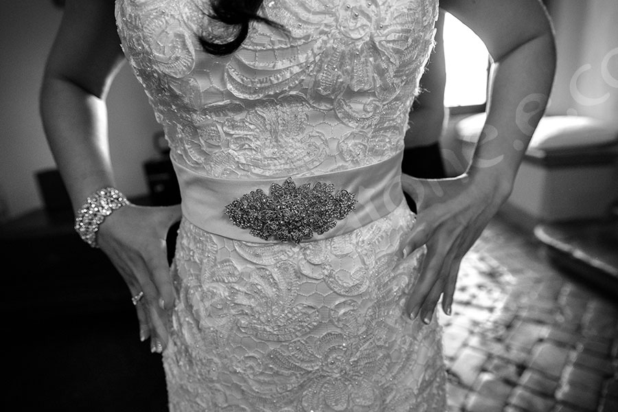 Bridal dress detail in black and white