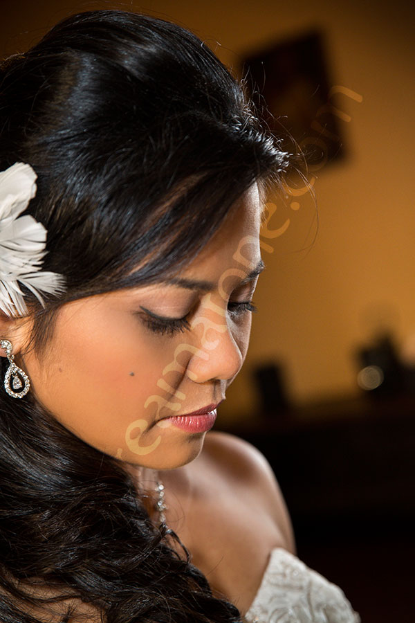 Bride portrait photography looking down