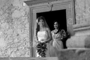 The bride makes her exit inside Odescalchi Castle Italy