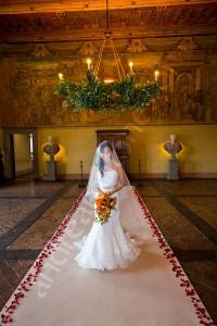 Bride at the wedding ceremony in Castello Odescalchi