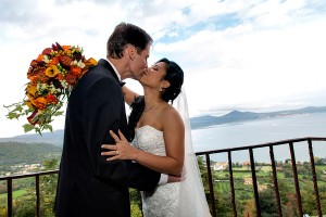Wedding couple in love during wedding at Castello Odescalchi in Italy with lake view