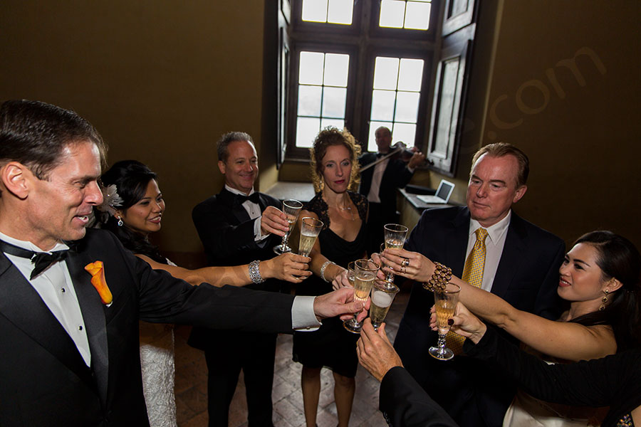 A wedding toast with all the guests